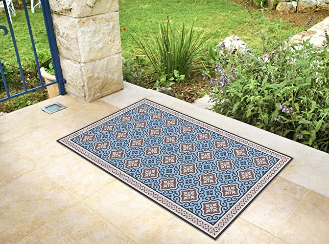 Amazon Com Vinyl Floor Mat With Blue Tiles Blue Area Rug Linoleum