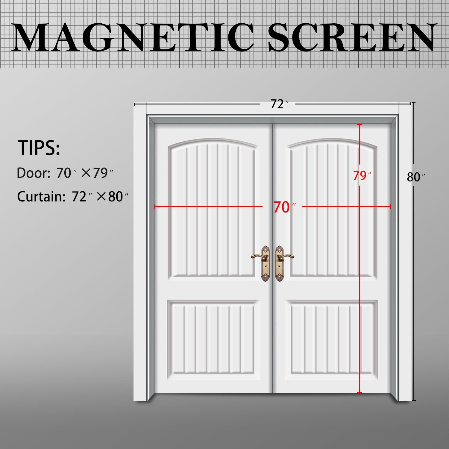 Amazon magnetic screen door wide mega french door mesh 72 x amazon magnetic screen door wide mega french door mesh 72 x 80 fit doors size up to 70w x 79h max with full frame velcro large magnet double door vtopaller Image collections