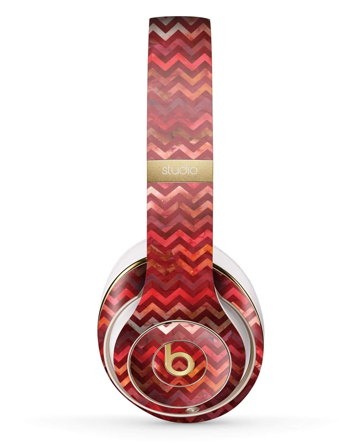 Red Multi Watercolor Chevron Design Skinz Full-Body Premium Authentic Skin Kit for The Beats by Dre Studio 2 or 3 Remastered Wireless Headphones Ultra-Thin Protective Decal Wrap