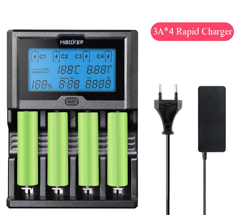 MiBoxer C4-12 Smart Battery 18650 265650 Caricabatterie Schermo LCD a 4 slot 3, 0 A/slot 12A totale per batterie ricaricabili Li-ion/IMR / INR/ICR / Ni-MH/Ni-Cd(nessuna batteria inclusa) MiboxerC4-12