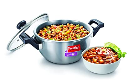 Prestige Clip On Stainless Steel Kadai Pressure Cookware with Glass Lid Accessory, 1-Piece,�