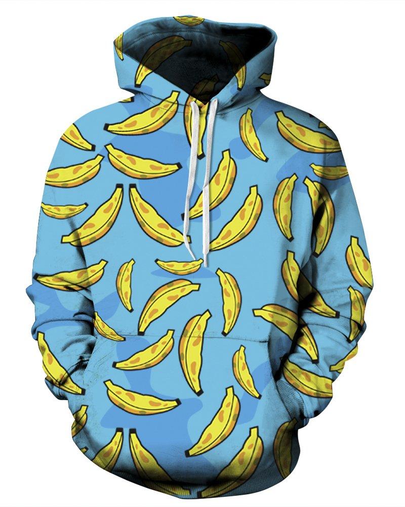 QZUnique Causal Unisex Banana Printing Pullover Hoodie Lovers Sports Sweatshirt US M by QZUnique