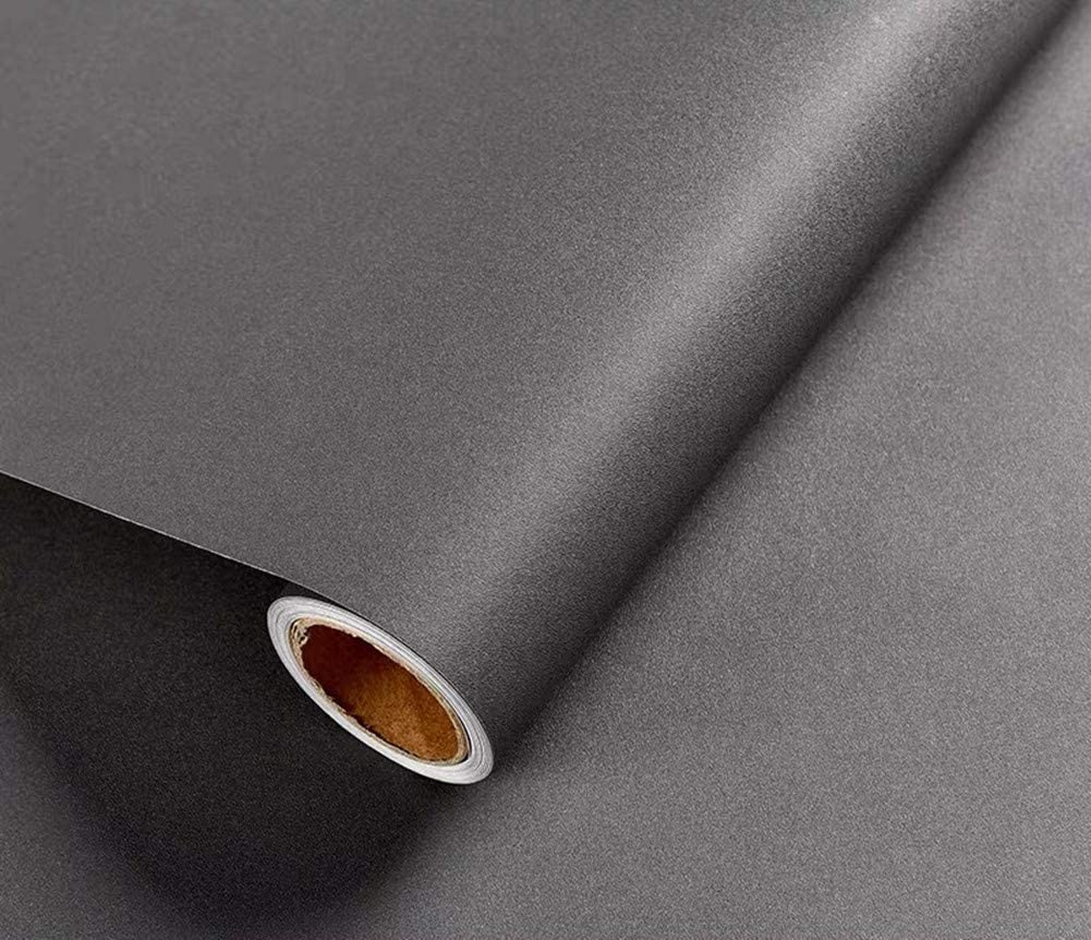 Yancorp Matte Black Wallpaper Plain Contact Paper Vinyl Film Self-Adhesive Shelf Liner Peel-Stick Countertop Removable 16x120, Dark Grey