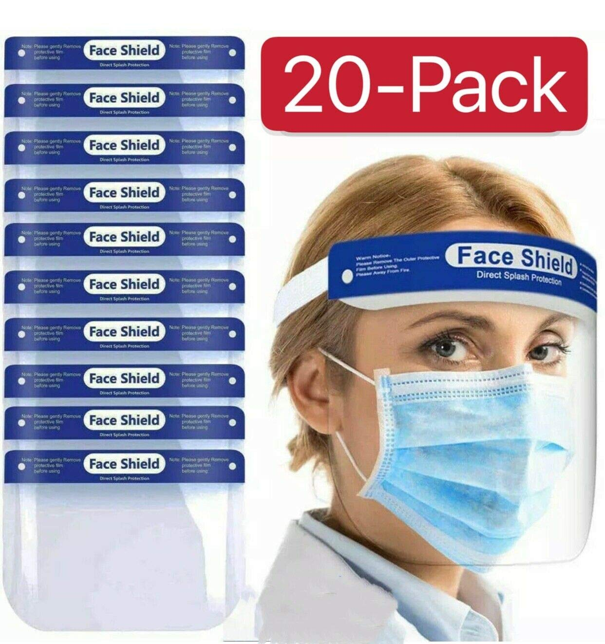 20 unidades lentes antivaho ligeras resistente a salpicaduras protecci/ón completa ajustables transparentes Protector facial de seguridad visera ancha unisex SB Components