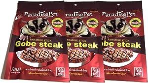 Polar Bear's Pet Shop 3 PCS. Premium Gobe Kobe Steak Flavor Sugar Glider Hamster Squirrel Chinchillas Small Animals Sandwich Snacks and Food Stick Gobe Steak Flavor (50g.)