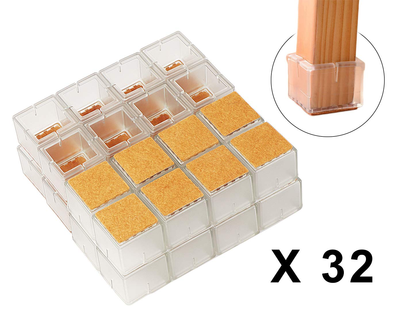 Chair Leg Hardwood Floor Protectors with Felt Mat Furniture Table Leg Glides Feet Caps Fit Square Length 1-1/4 to 1-3/8 Inch (32 Pack)