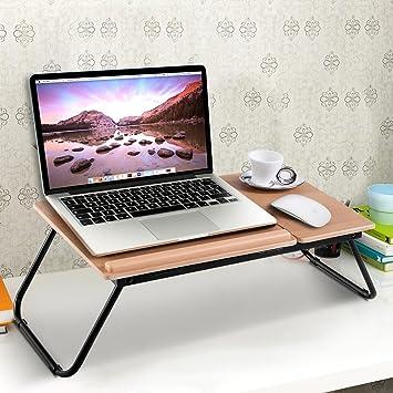tangkula ajustable portátil ordenador portátil escritorio portátil plegable mesa soporte bandeja de madera: Amazon.es: Oficina y papelería