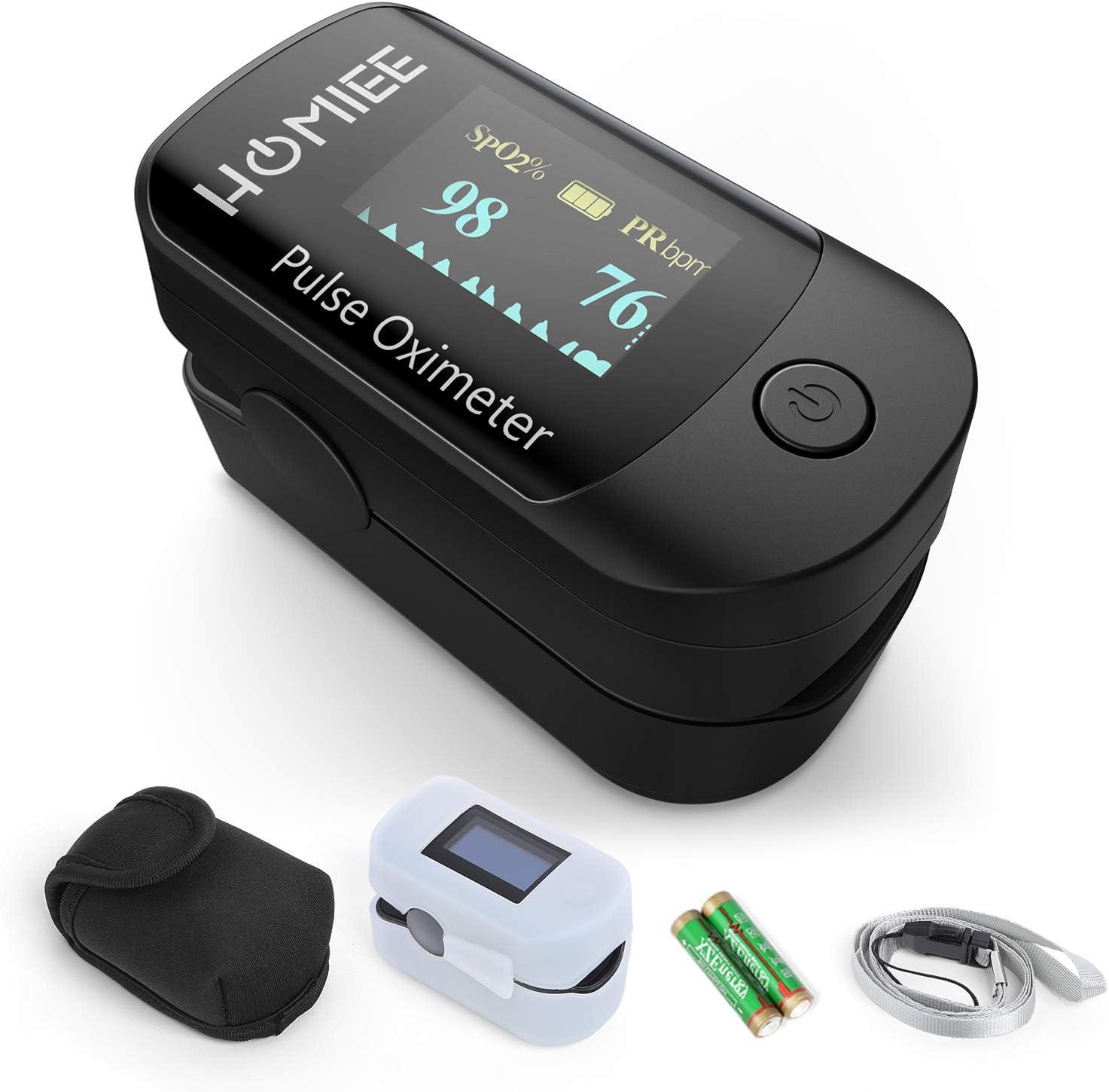 HOMIEE Oxímetro de Pulso, Pulsioxímetro de Dedo Profesional, Medidor de Oxígeno en Sangre SpO2 y Monitor de Frecuencia Cardíaca para Uso Deportivo, Adultos y Niños (OLED Negro)