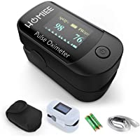 HOMIEE Superior Measuring Accuracy Exquisite, Compact and Lightweight SpO2 & PR Rate Recorder, Bonus Lanyard, Heart Rate Monitor with Durable Carrying case,Automatic Shutdown Fast Reading, Black
