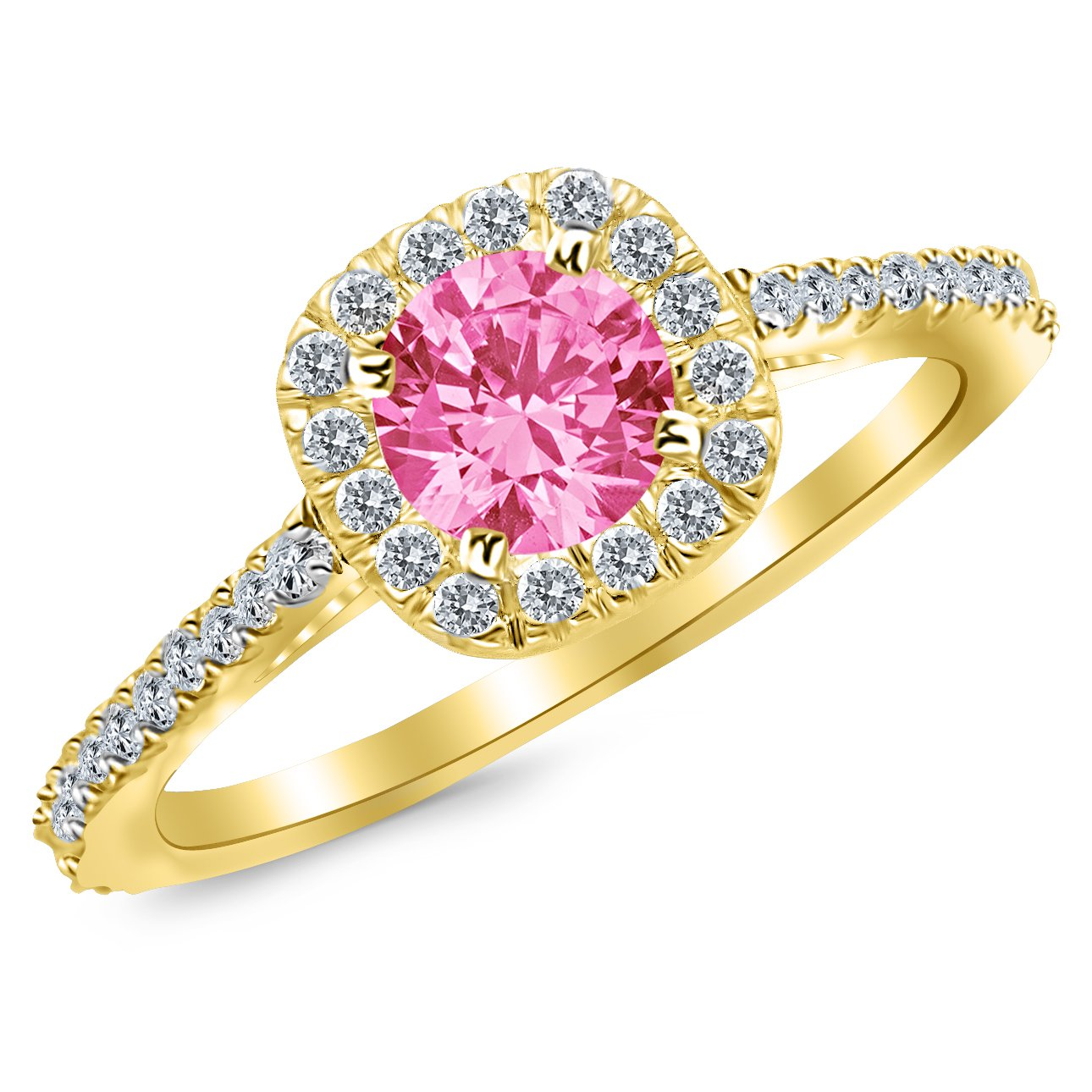 1.35 Carat 14K White Gold Gorgeous Classic Cushion Halo Style Diamond Engagement Ring with a 1 Carat Natural Pink Sapphire Center (Heirloom Quality)