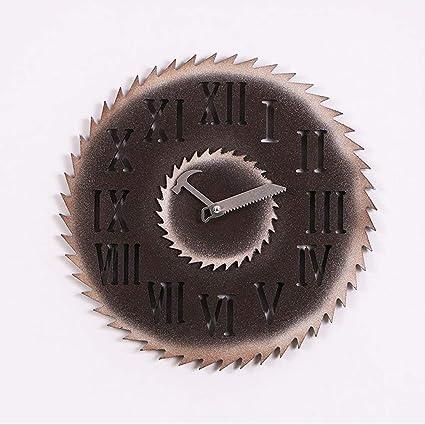 fwerq ¿Retro Antiguo Reloj de Pared imitación eólica Industrial Barra metálica Reloj de Pared Reloj