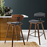 2 x Artiss Bar Stool Leather Upholstery Counter Bar Chair Wooden Kitchen Dining Stool, Black