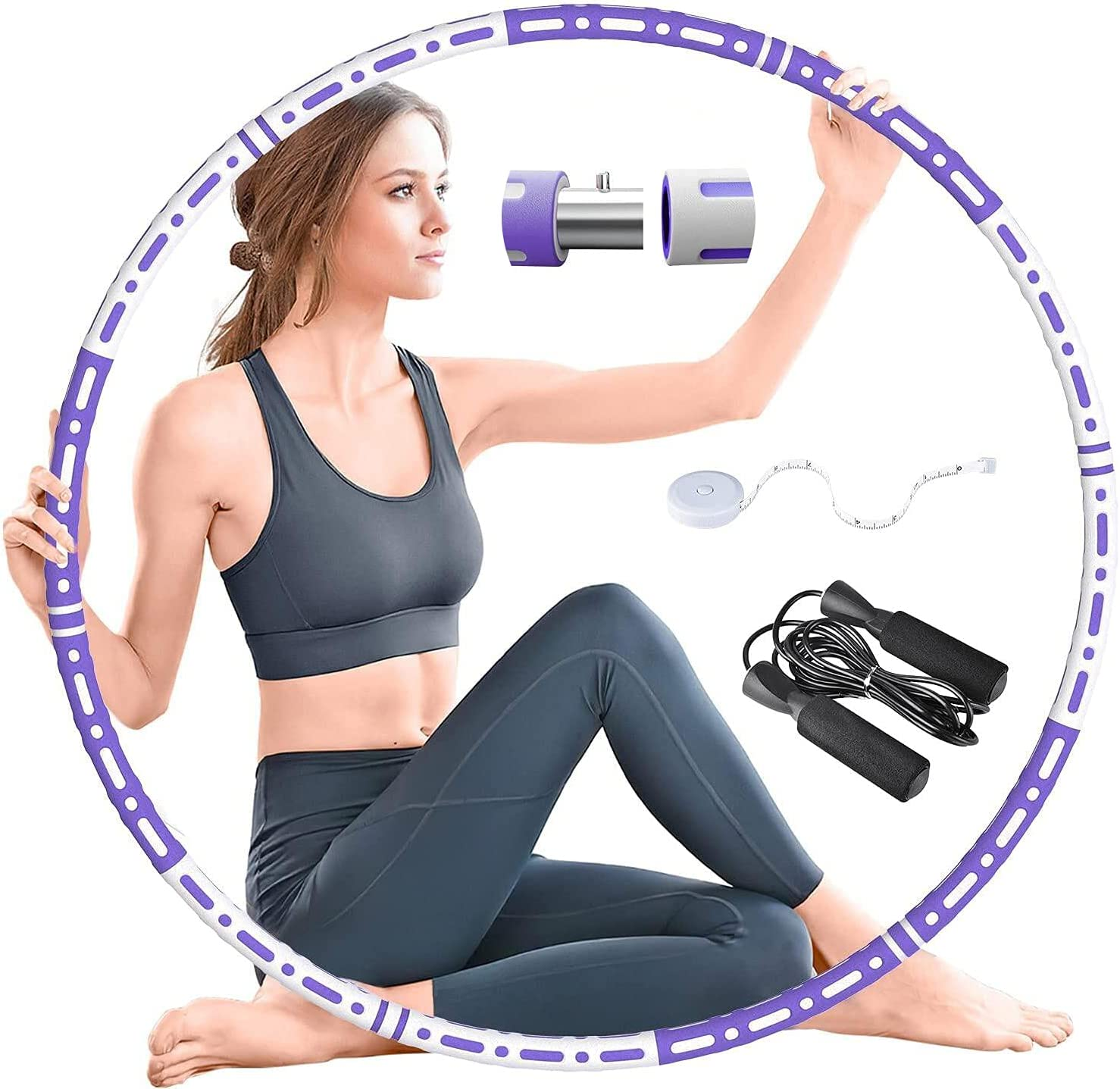 RIRGI Exercise Hoop for Adults Weighted Fitness Hoop, Exercise Circle Pilates Circles 6 Section Detachable Weighted Circle and 2lb Adjustable Weight Pilates Hoop for Men and Women : Sports & Outdoors