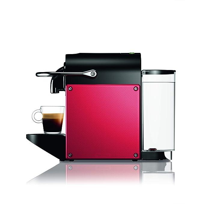 Nespresso DeLonghi Pixie EN124.R Cafetera monodosis cápsulas, 19 Bares, depósito Agua 0.7 L, Apagado automático, Rojo