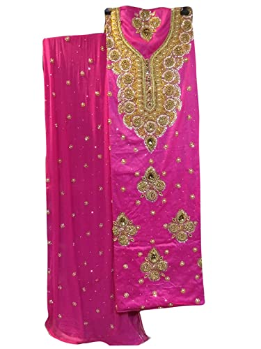 Amazon.com: Funda India rosa color tela de traje de Salwar ...