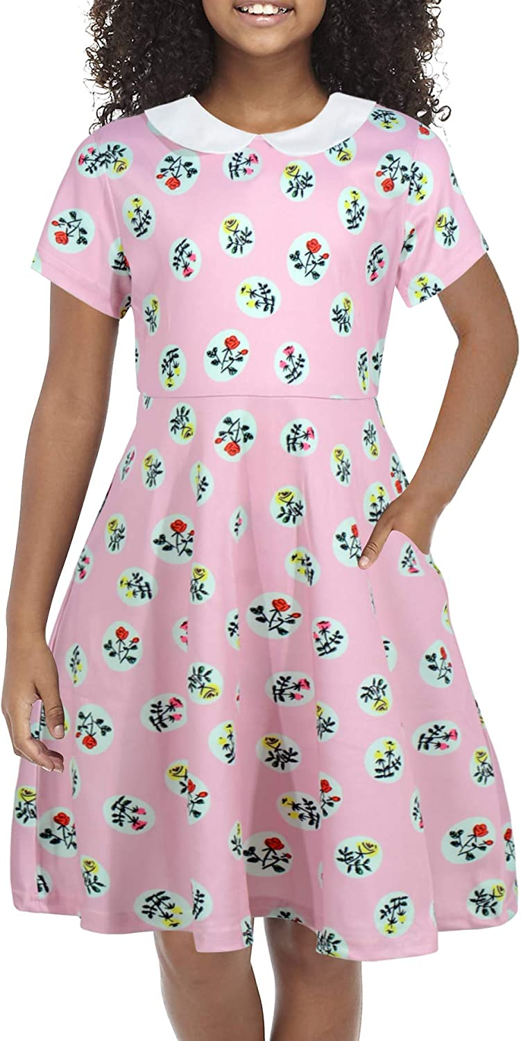 GORLYA Girls Short Sleeve Casual Vintage Peter Pan Collar Fit and Flare Skater Party Dress with Pockets 4-12 Years