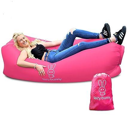 Sofá cama hinchable Lazy Bunny, ligero y fácil de inflar, para exteriores, viajes