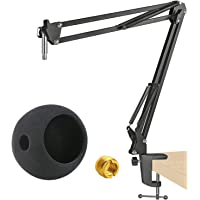 Adjustable Microphone Stand for Blue Snowball and Suspension Boom Scissor Arm Stand with Microphone Pop Filter,Heavy…