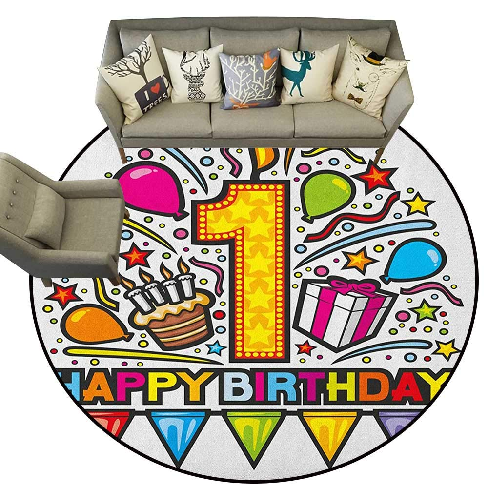 Style06 Diameter 72(inch& xFF09; 1st Birthday,Personalized Floor mats Baby First Party Festive Cake with Forest Fruits and Candlestick Image Print D54 Floor Mat Entrance Doormat