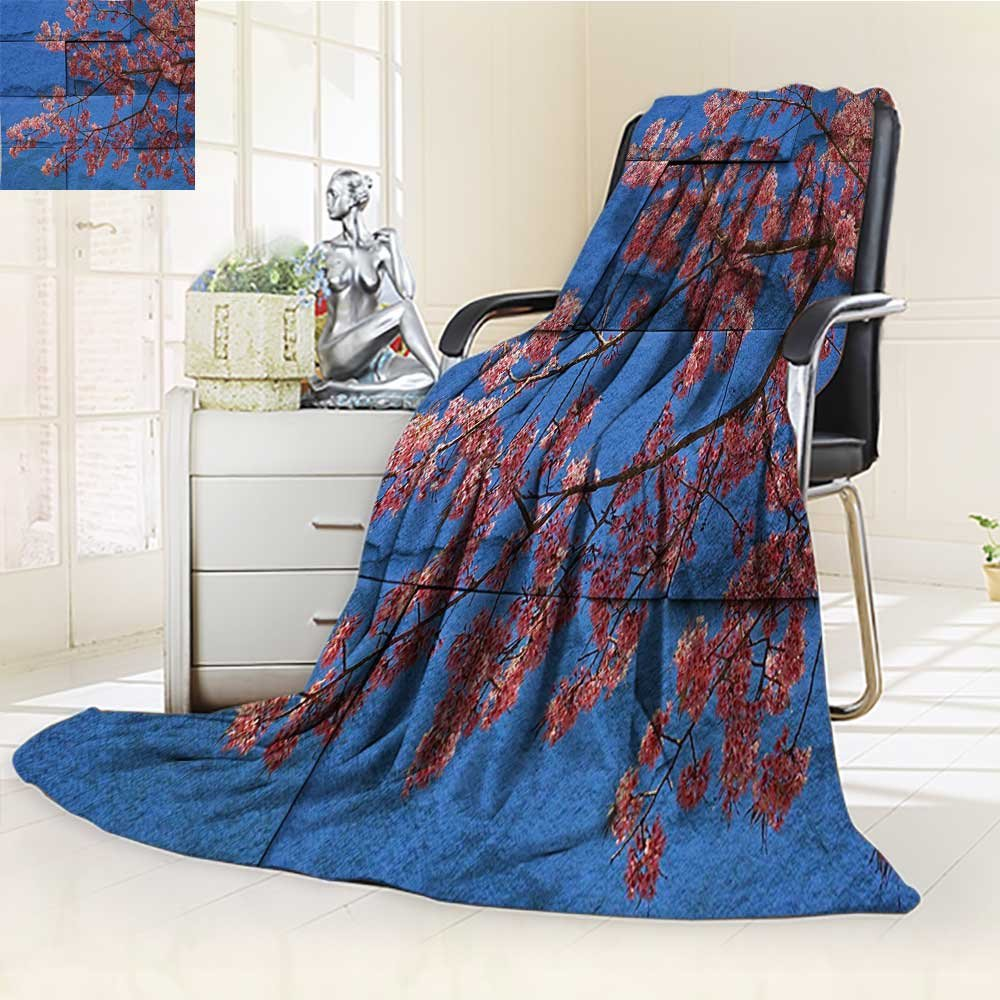 AmaPark Digital Printing Blanket Rustic Thai Sakura Blossom Mural Branch with Print Pink Blue Summer Quilt Comforter by AmaPark