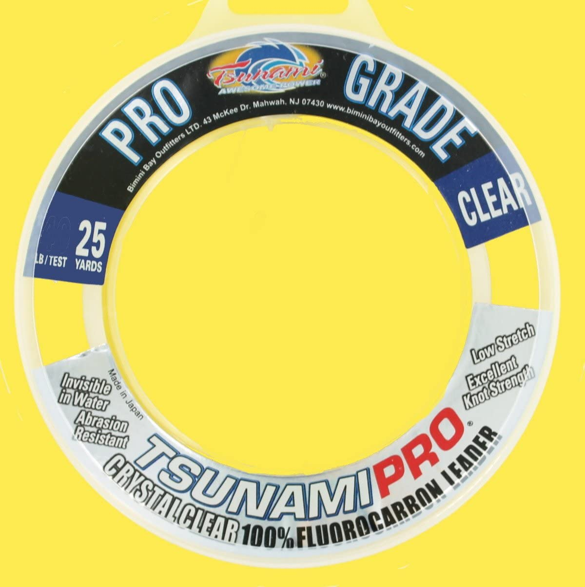 Tsunami Pro Grade 20 lb Clear 100/% Fluorocarbon Fishing Leader 25 yds