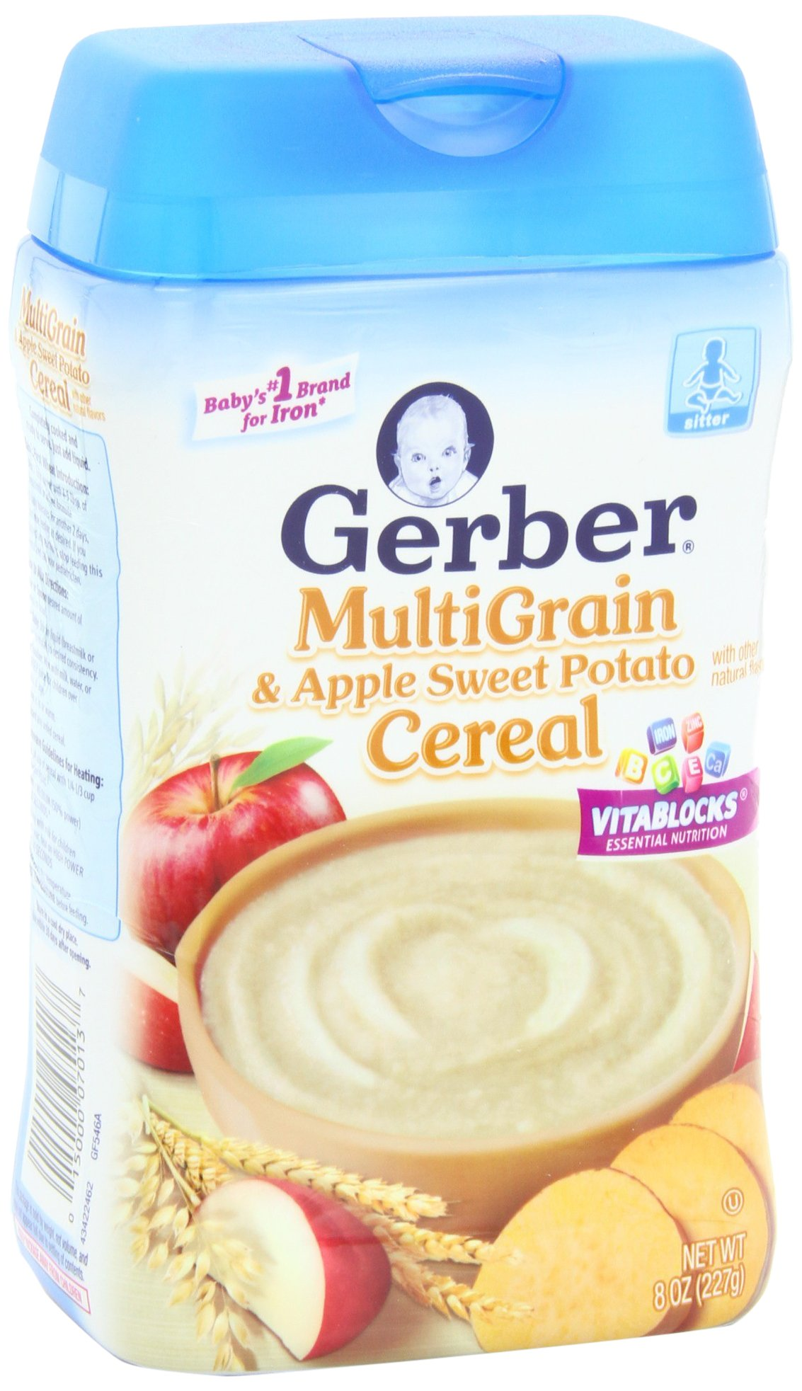 Gerber Multigrain and Apple Sweet Potato Baby Cereal, 8 Ounce (Pack of 6) by Gerber (Image #1)