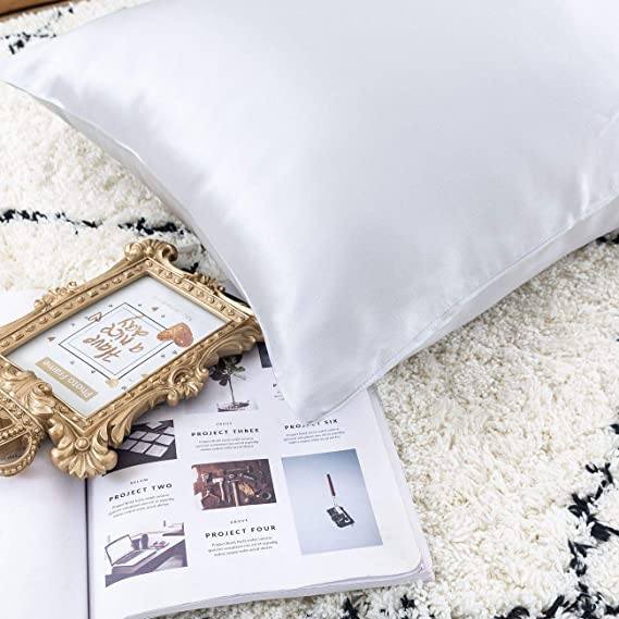 Ethereal Lomoer 100% Natural Pure Silk Pillowcase For Hair And Skin, Both Side 19mm, Hypoallergenic, 600 Thread Count, Luxury Smooth Satin Pillowcase With Hidden Zipper (Standard, Light Grey) by Ethereal Lomoer