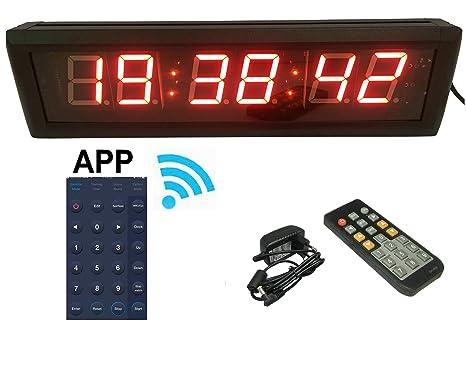 """ganxin app-control 2.3 """"alta Character LED de 6 dígitos reloj de pared"""