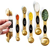 Modern Magnetic Gold Measuring Spoons Set - Stackable, Stylish Sturdy Stainless Steel (5-Piece) for Cooking and Baking