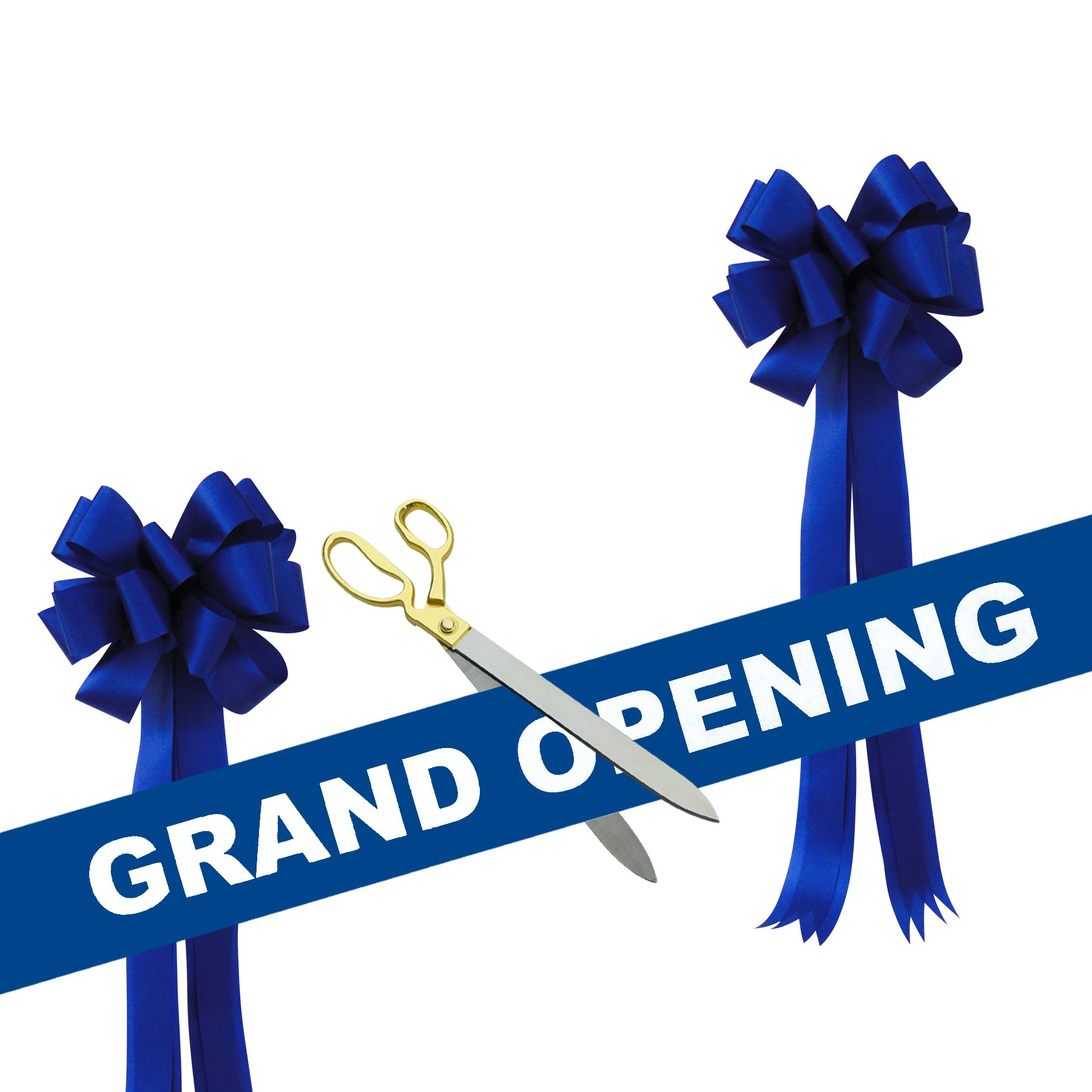 Grand Opening Kit - 20'' Gold Plated Handles Ceremonial Ribbon Cutting Scissors with 5 yards of 6'' Blue Grand Opening Ribbon White Letters and 2 Royal Blue Bows