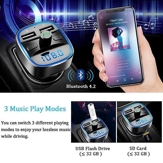 Bovon Transmisor FM Bluetooth Coche Manos Libres, Bluetooth para Coche, Cargador de Coche con Doble USB Reproductor MP3 Mechero Coche, Adaptador de Radio ...