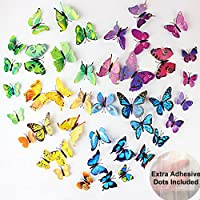 ElecMotive 60 Pcs 5 Packs Beautiful 3D Butterfly Wall Decals Removable DIY Home Decorations Art Decor Wall Stickers…