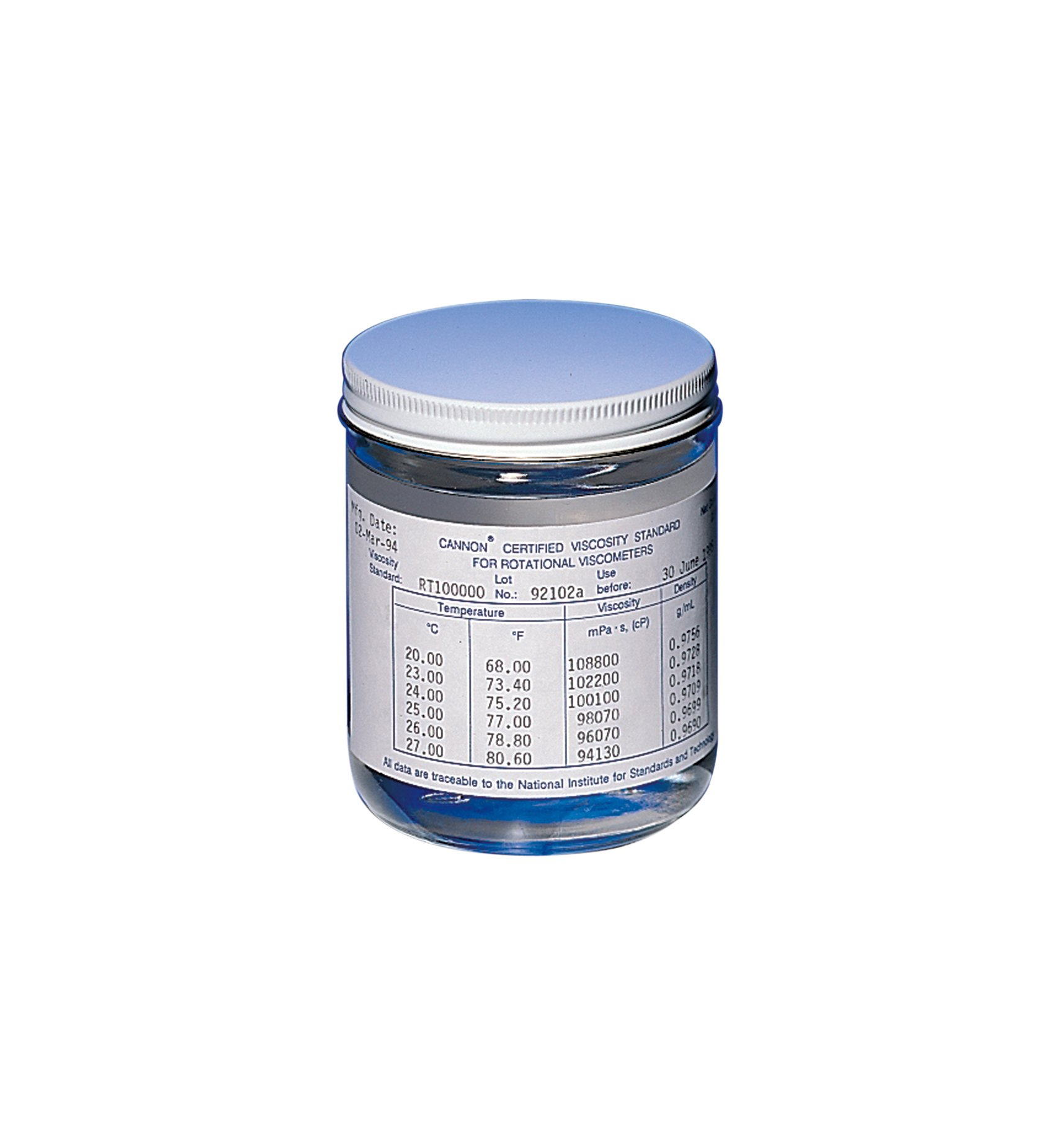 Cannon Silicone Viscosity Standard for Rotational Viscometers, 500 Cap at 25 Deg C, 500 ml Volume