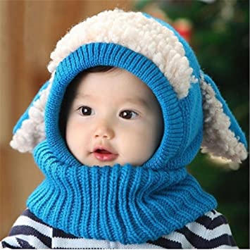 95f9a6f8056523 KLUMA ニット帽子 子供 ベビー キッズ 赤ちゃん うさぎちゃん風 かわいい 防寒 一体型 耳あて