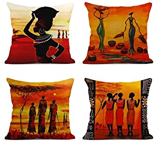 ArtSocket Set of 4 Linen Throw Pillow Covers Oil Painting African Ethnic Tribe Lady Livingroom Lips Decorative Pillow Cases Home Decor Square 18x18 inches Pillowcases