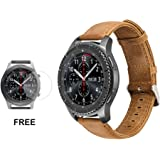 Samsung Gear S3 Watch Leather Band, Watch Replacement Frontier Classic Fitness Strap ( Wrist Bracelet Band+ Tempered Glass Screen Protector)