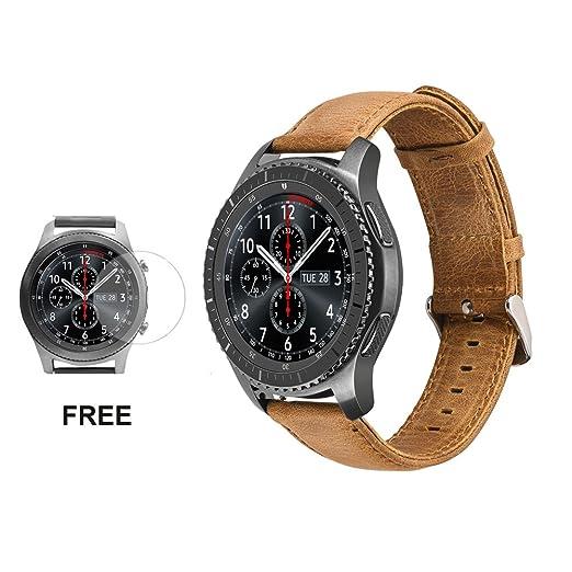 2 opinioni per Cinturino in pelle per orologio Samsung Gear S3, cinturino per il polso classico
