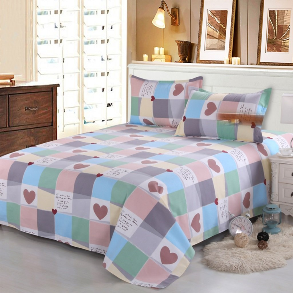 Xuan - worth having Streifen-Gittermuster Baumwoll-Grob-Tuch Bettblätter Einzelstück 1.5 / 1.8 / 2m Einzelbett Doppelbett Dicker Student Tagesdecke ( größe : 120*230cm )