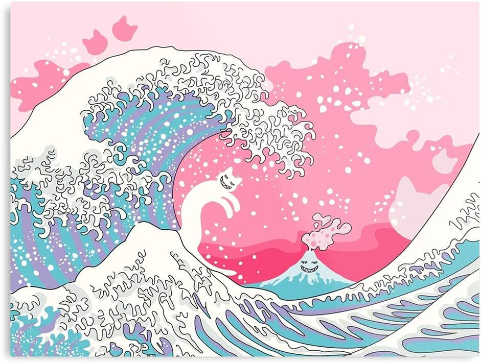 Pink Baby Pastel Blue Fantasy Psychodelic Cute Sea The Best and Style Home Decor Wall Art Print Poster Customize