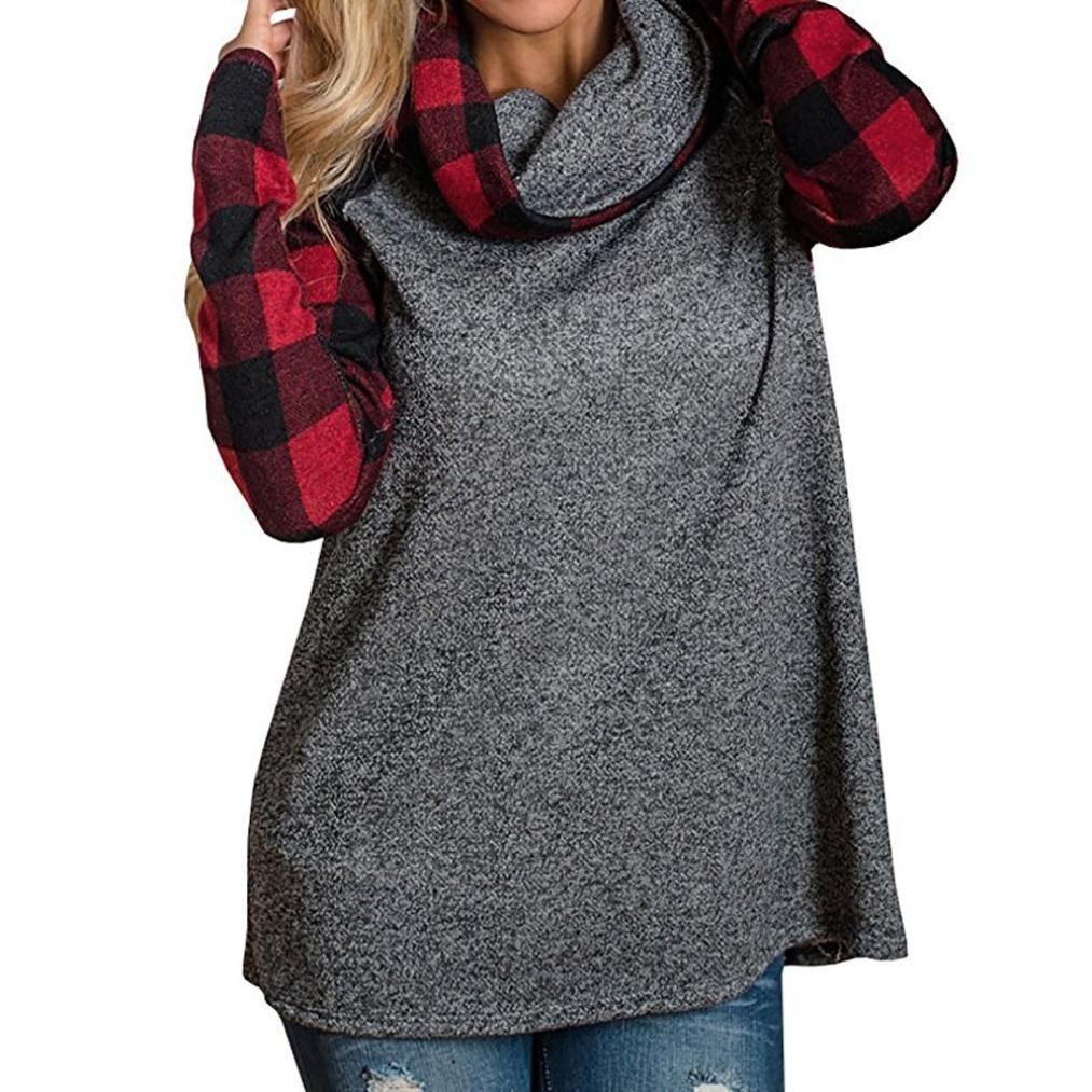 Sweatshirt à Capuche Femme CIELLTE Hoodies Manches Longues Pull Automne Hiver Tops de Sport Carreaux Grand Taille Confortable Basic Pullover Casuel Fashion Cool