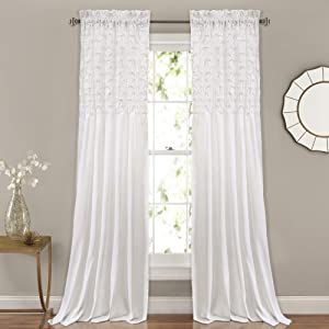 "Lush Decor Bayview Curtains - Pintuck Textured Semi Sheer Window Panel Drapes Set for Living, Dining, Bedroom (Pair), 84"" x 52"", White"