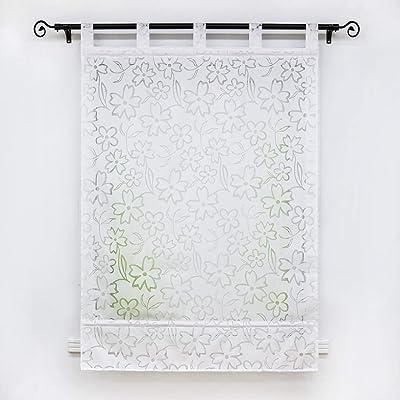 Buy Yujiao Mao Sheer Roman Curtains For Window Burnout Roman Shade Tab Top Adjustable Balloon Shades For Kitchen Bedroom Bathroom 1pc White W39 X L55 Inch Online In Turkey B08brjmsrf