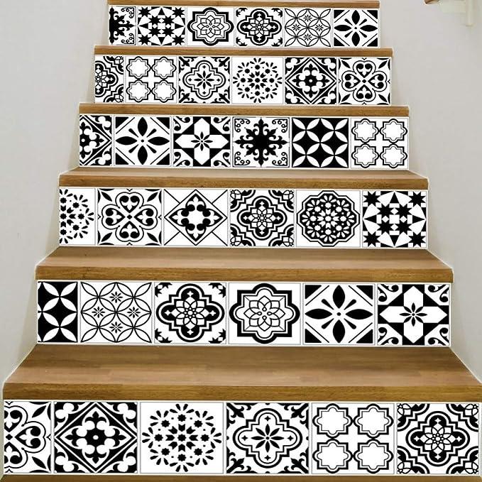 YOODECOR Pegatinas de Escalera PVC Etiqueta de La Pared Baño Impermeable Autoadhesivo Wallpaper Cocina Mosaico de Azulejo escaleras Pegatinas para Paredes de Calcomanía Decoración del Hogar: Amazon.es: Hogar