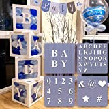 4 pcs White Transparent Balloons Boxes with 30 Letters 10 Numbers 5 Symbols, 49 pcs Party Decorations Kit Supplies, Boys Girl