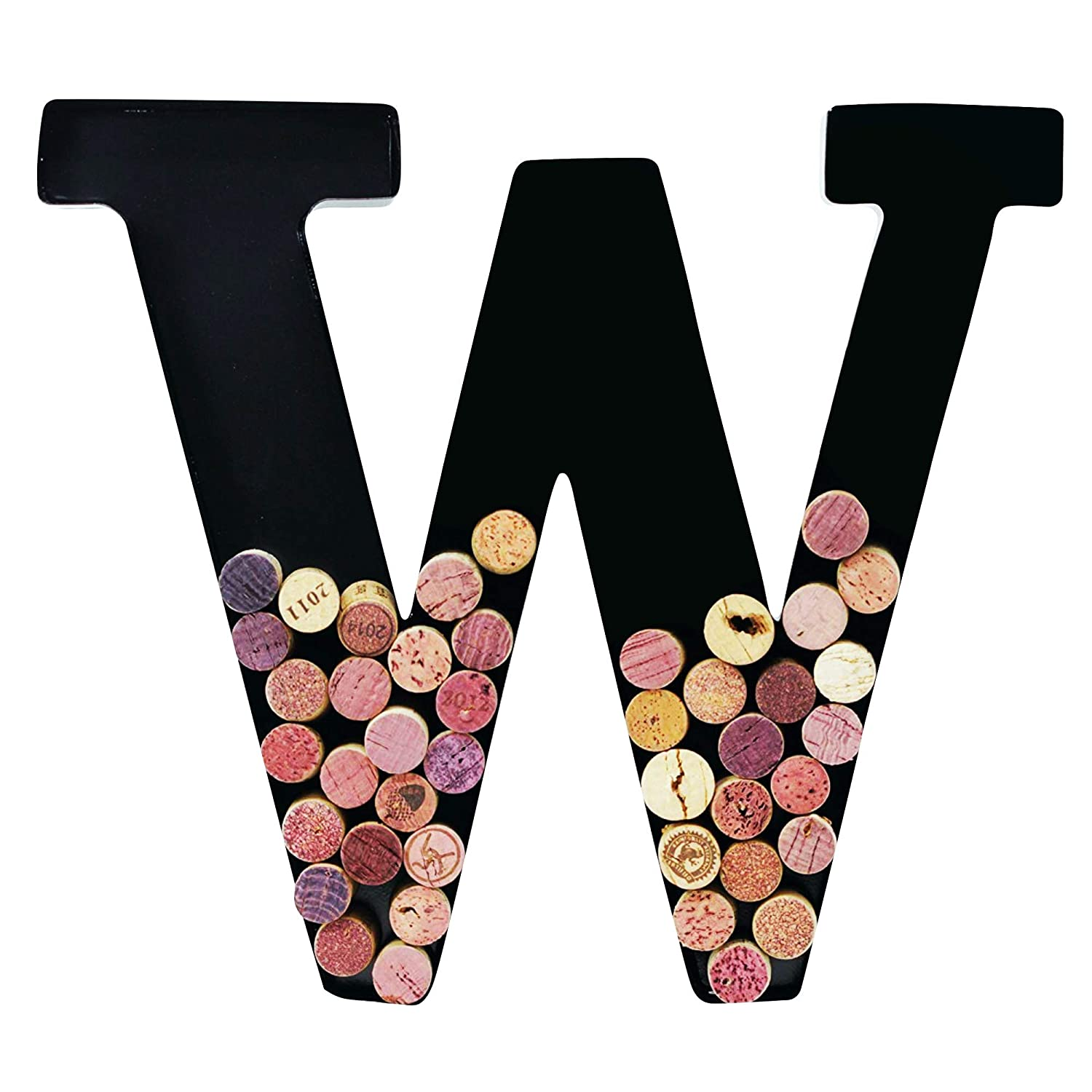 Metal Wine Cork Holder Monogram Decorative Wall Letter (W)