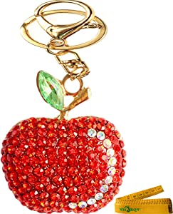 Bling Bling Crystal Rhinestone Graven 3D Cubic Apple Shaped Metal Keychain Car Phone Purse Bag Decoration Holiday Gift (Red)