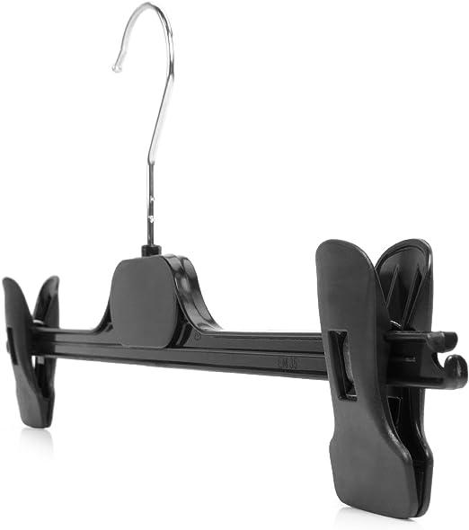 Hangerworld™ Black Plastic Grips Hanger Clips for Trouser Bar Clothes Hangers