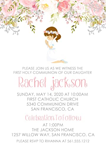 Amazon Com Girls First Holy Communion Invitations First Holy