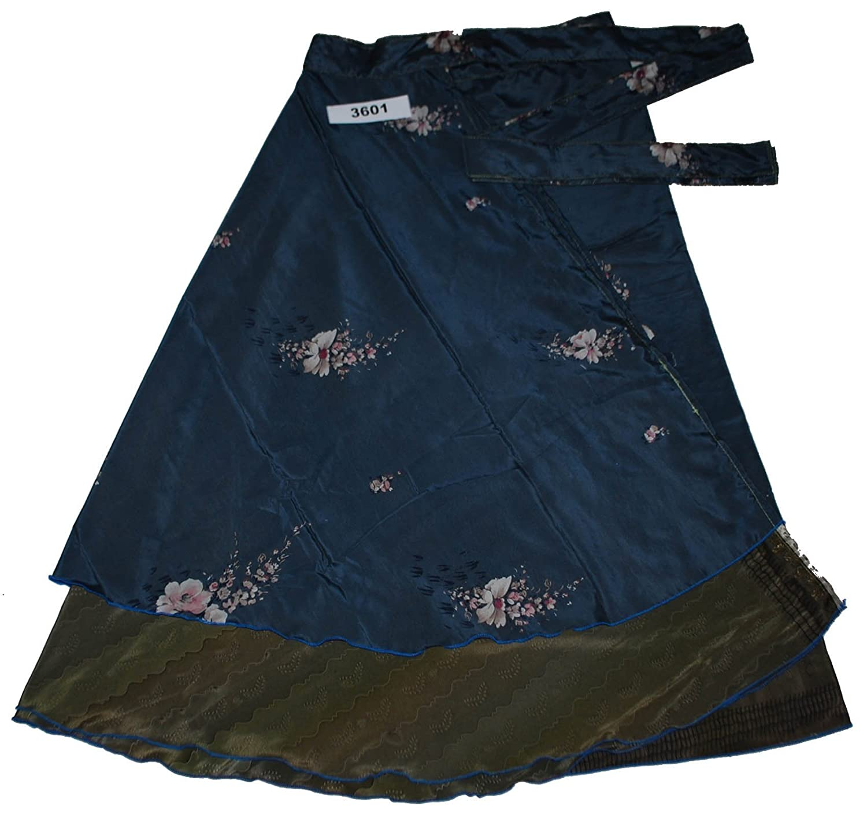 Wevez Pack of 3 Pcs Printed Reversible Art Silk Sari Wrap Around Magic Skirts 3601