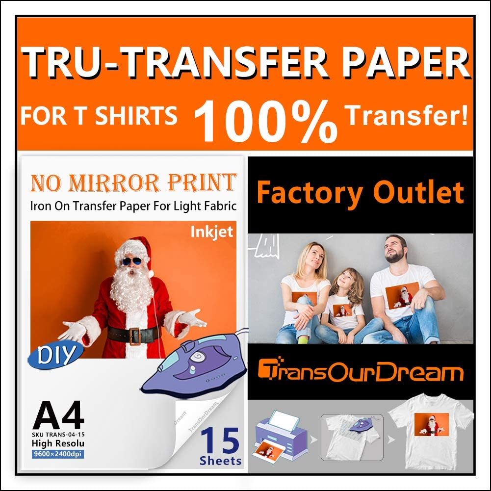 TransOurDream Tru-Transfer Paper TRANS-04-15 for White and Light T Shirts Fabrics NO Mirror Print,Low Melting Point,Easy to Iron On 15 Sheets A4 Size Inkjet Iron On Transfer Paper 2nd Generation